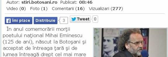 """""""EMINESCU are scutul său – GENIUL"""" (*"""